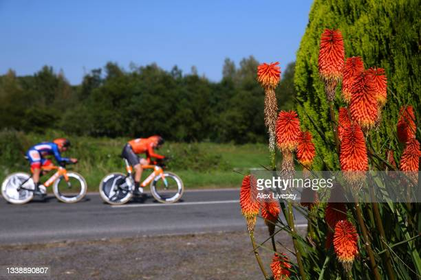 Detail view of Robin Carpenter of United States and Team Rally Cycling blue leader jersey and his teammates competing during the 17th Tour of Britain...