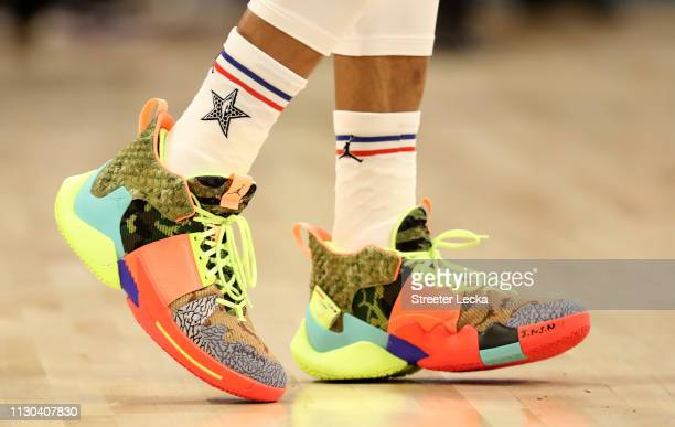 A detail view of Russell Westbrook of the Oklahoma City Thunder and Team Giannis shoes during the NBA AllStar game as part of the 2019 NBA AllStar...