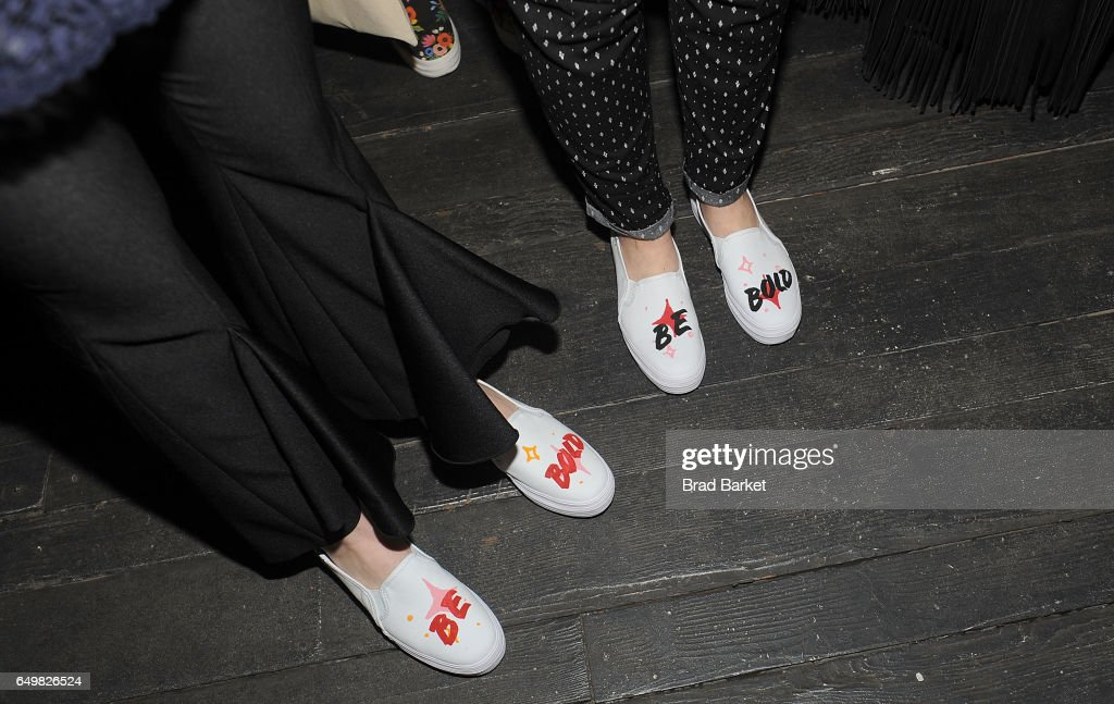 A detail view of shoes at the Be Bold For Change, One Step