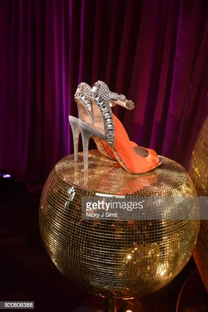A detail view of shoes at the Sophia Webster AW18 presentation during London Fashion Week February 2018 at Hotel Cafe Royal on February 19 2018 in...