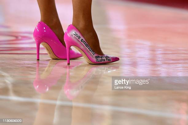 A detail view of shoes worn by head coach Muffet McGraw of the Notre Dame Fighting Irish during the second half of their game against the North...
