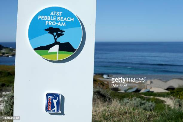 A detail view of signage during Preview Day 3 of the ATT Pebble Beach ProAm at Pebble Beach Golf Links on February 7 2018 in Pebble Beach California