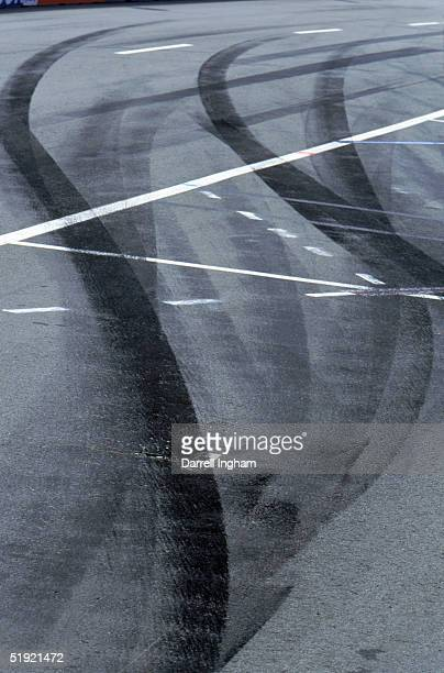 Detail view of skid marks left on the track during the Molson Indy Vancouver in the CART FedEx Championship Series at the Concord Pacific Place on...