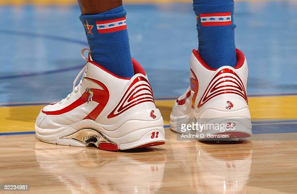 A detail view of sneakers worn by Shaquille O'Neal of the Eastern Conference AllStars are seen in the 54th AllStar Game part of 2005 NBA AllStar...
