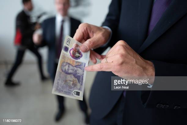 Detail view of some of the artwork detailing on a large scale sample of the new twenty pound note during the launch event at the Turner Contemporary...
