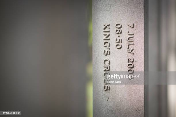 A detail view of some of the dates and times on the 7/7 memorial in Hyde Park ahead of a wreath laying to mark the fifteenth anniversary of London...