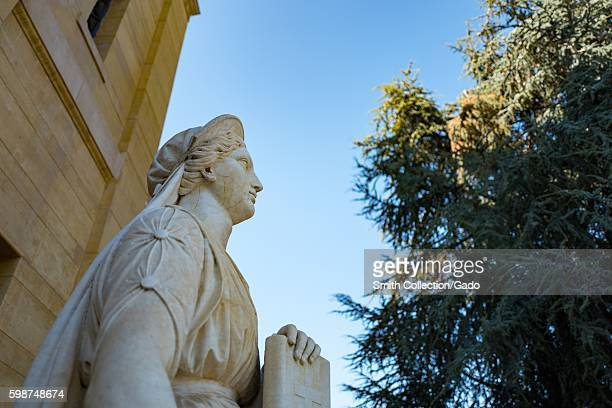 Detail view of statue at entrance to Cantor Arts Center formerly the Leland Stanford Junior Museum on the campus of Stanford University in the...