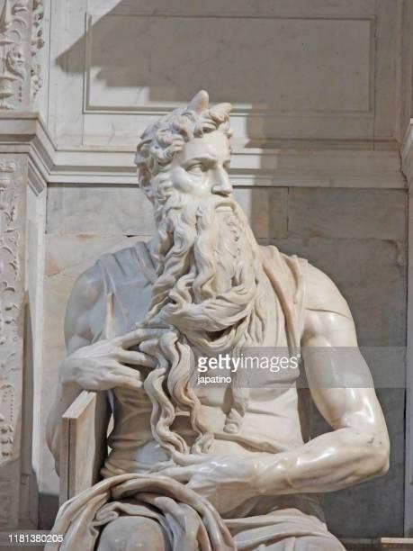 detail view of statue of moses by michelangelo - renacimiento fotografías e imágenes de stock