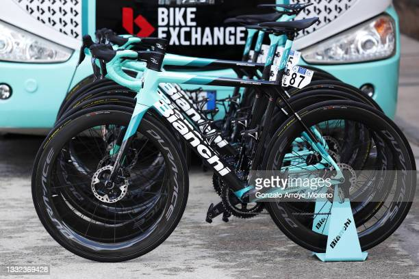 Detail view of Team BikeExchange's Bianchi bike during the 43rd Vuelta a Burgos 2021, Stage 2 a 175km stage from Tardajos to Briviesca /...