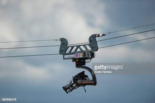 Detail view of television camera during the day 9 of the French Open at Roland Garros on June 5 2017 in Paris France