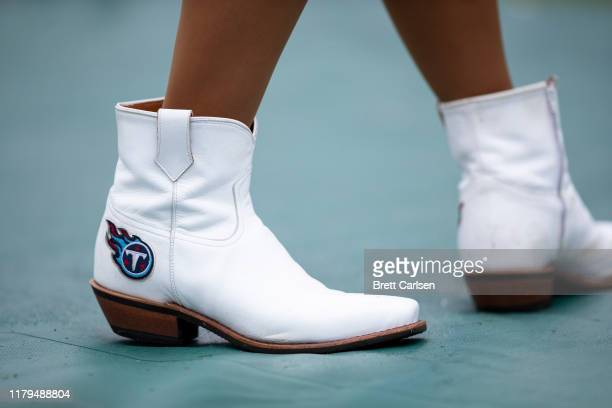 Detail view of Tennessee Titans cowboy boots worn by the teamu2019s cheerleaders during the game against the Buffalo Bills at Nissan Stadium on...