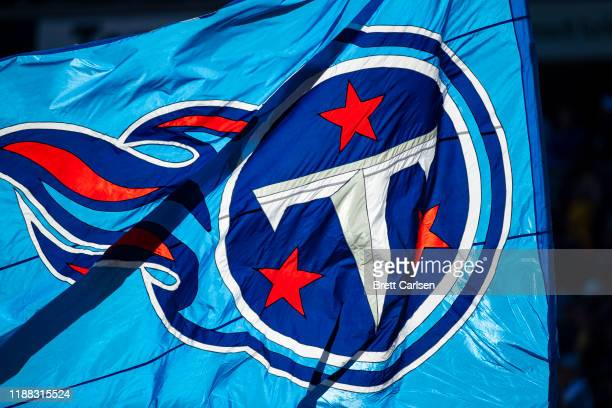 Detail view of Tennessee Titans logo flag during the first half of a game against the Kansas City Chiefs at Nissan Stadium on November 10 2019 in...