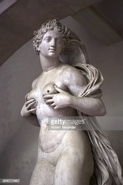 Detail view of the 16th century monumental 'Fountain for the Sala Grande' shows Venus, whose breasts once gushed steams of water. The marble fountain...