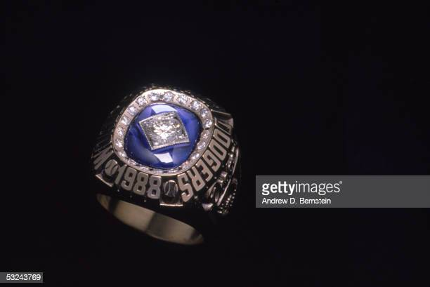 A detail view of the 1988 Los Angeles Dodgers World Series Ring