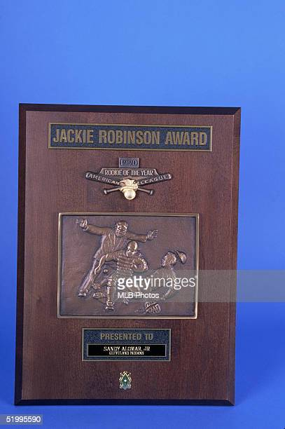 Detail view of the 1990 American League Jackie Robinson rookie of the year award who was awarded to Sandy Alomar Jr of the Cleveland Indians in 1990