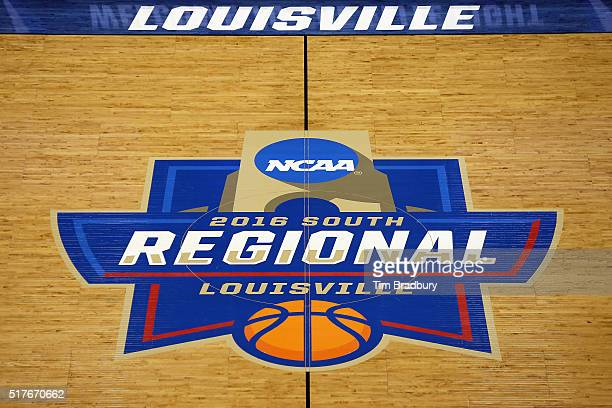A detail view of the 2016 NCAA Men's Basketball Tournament South Regional logo at half court prior to the game between the Kansas Jayhawks and the...
