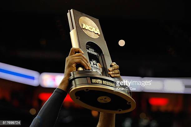 A detail view of the 2016 NCAA Men's Basketball Tournament South Regional Champion trophy after the Villanova Wildcats defeated the Kansas Jayhawks...