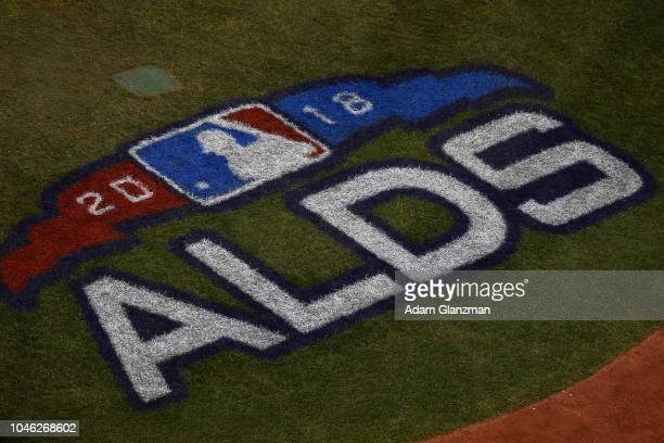 Detail view of the 2018 ALDS on field logo during Game 1 of the ALDS between the New York Yankees and the Boston Red Sox at Fenway Park on Friday...