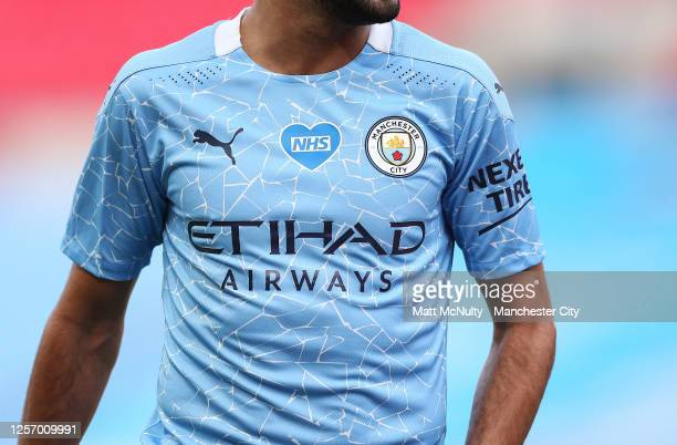 A detail view of the 2020/21 Manchester City home shirt during the FA Cup Semi Final match between Arsenal and Manchester City at Wembley Stadium on...