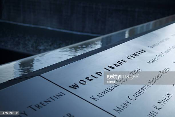Detail view of the 9/11 Memorial in New York