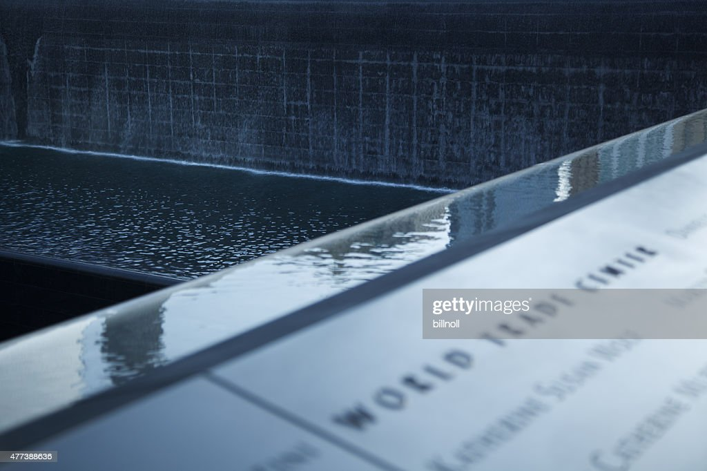 Detail view of the 9/11 Memorial in New York : Stock Photo