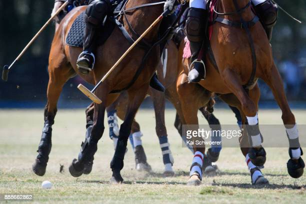 Detail view of the action during the International Polo Test between New Zealand and Australia on December 9 2017 in Christchurch New Zealand