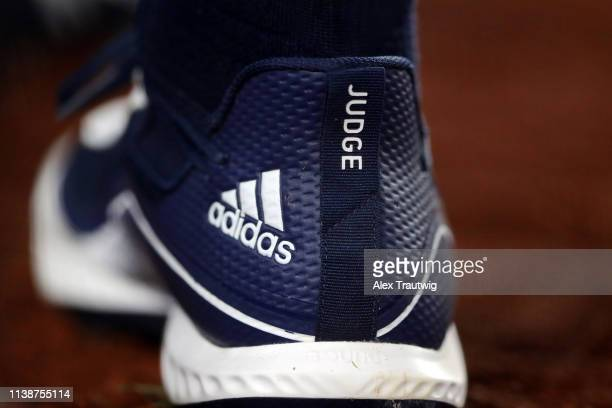 A detail view of the Adidas cleat worn by Aaron Judge of the New York Yankees during the game between the Boston Red Sox and the New York Yankees at...