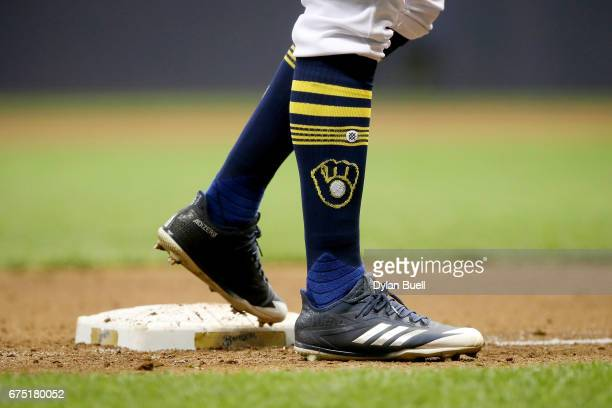 A detail view of the Adidas cleats worn by Keon Broxton of the Milwaukee Brewers in the fifth inning against the Atlanta Braves at Miller Park on...