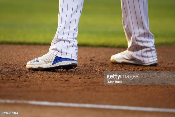 A detail view of the Adidas cleats worn by Kris Bryant of the Chicago Cubs against the Arizona Diamondbacks at Wrigley Field on August 1 2017 in...