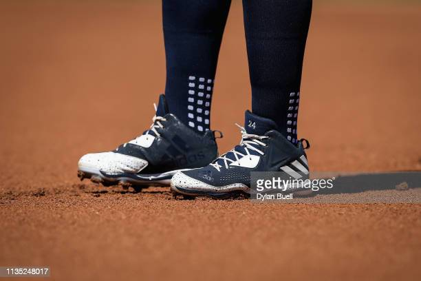 A detail view of the Adidas cleats worn by Miguel Cabrera of the Detroit Tigers during the Grapefruit League spring training game against the...