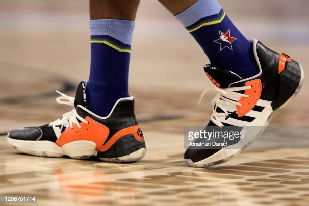 A detail view of the Adidas sneakers worn by James Harden of Team LeBron during the 69th NBA AllStar Game at the United Center on February 16 2020 in...