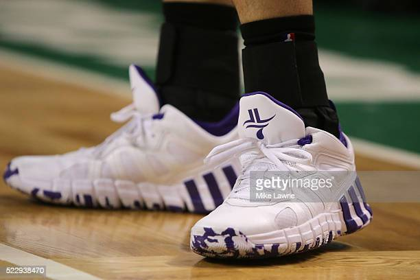 A detail view of the Adidas sneakers worn by Jeremy Lin of the Charlotte Hornets in the first half against the Boston Celtics at TD Garden on April...