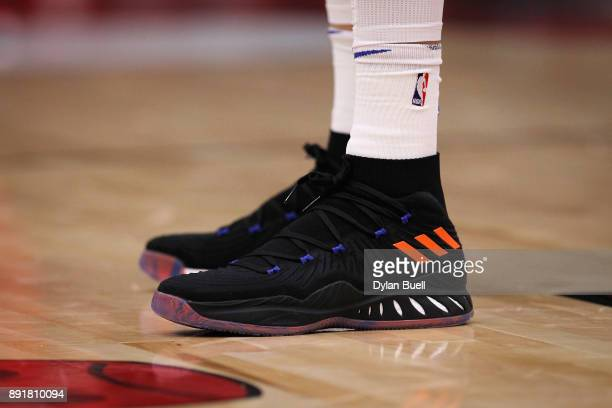 A detail view of the Adidas sneakers worn by Kristaps Porzingis of the New York Knicks in the first quarter against the Chicago Bulls at the United...