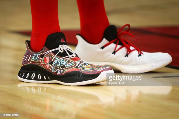 A detail view of the Adidas sneakers worn by Robin Lopez of the Chicago Bulls in the second quarter against the San Antonio Spurs at the United...