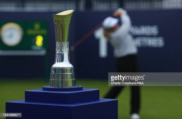 Detail view of the AIG Women's Open trophy on the first tee as Kirsten Rudgeley of Australia tees off during Day One of the AIG Women's Open at...