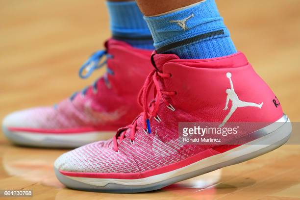 A detail view of the Air Jordan 31 sneakers worn by Tony Bradley of the North Carolina Tar Heels before the game against the Gonzaga Bulldogs during...