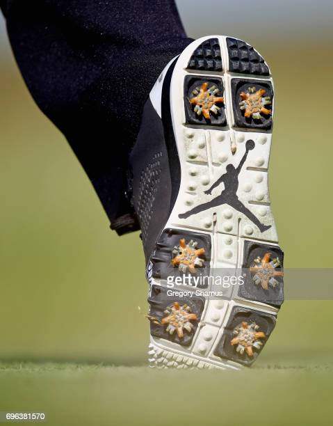 A detail view of the Air Jordan shoes worn by Pat Perez of the United States during the first round of the 2017 US Open at Erin Hills on June 15 2017...