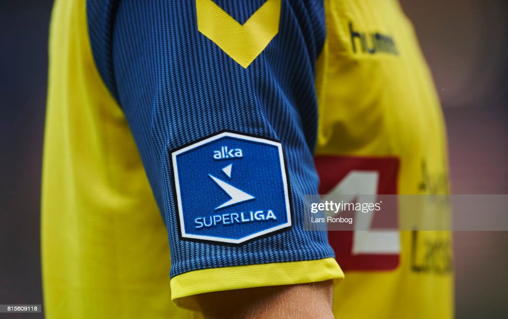 Detail view of the Alka Superliga logo n the new shirt of Brondby IF during the Danish Alka Superliga match between Brondby IF and FC Midtjylland at Brondby Stadion on July 16, 2017 in Brondby, Denmark.