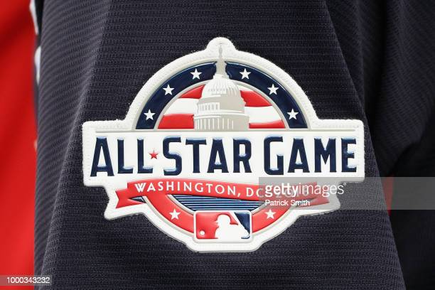 A detail view of the AllStar Game logo on a players sleeve is seen during Gatorade AllStar Workout Day at Nationals Park on July 16 2018 in...