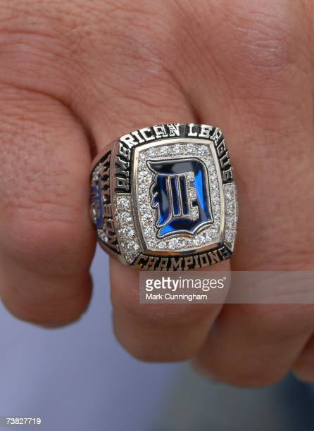 Detail View of the American League Championship Ring of Vance Wilson of the Detroit Tigers before the game against the Toronto Blue Jays at Comerica...