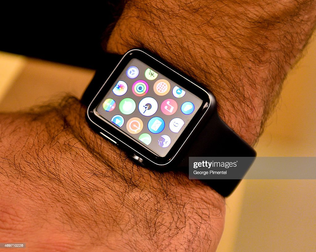 A detail view of the Apple Watch while Toronto Blue Jay player Jose Bautista Tries it on at the Eaton Centre Shopping Centre on April 14, 2015 in Toronto, Canada.