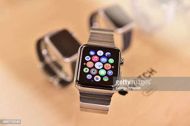 A detail view of the Apple Watch while Toronto Blue Jay player Jose Bautista Tries it on at the Eaton Centre Shopping Centre on April 14 2015 in...