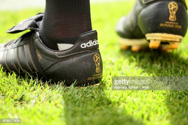 Detail View of the assistant Referee's adidas boots during the 2018 FIFA World Cup Russia group B match between Portugal and Morocco at Luzhniki...