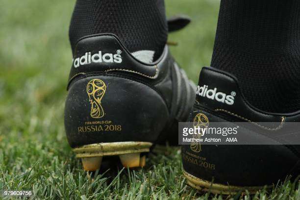 Detail View of the assistant Referee's adidas boots with World Cup Russia logo during the 2018 FIFA World Cup Russia group B match between Portugal...