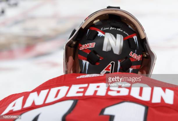 A detail view of the back of the facemark worn by Craig Anderson of the Ottawa Senators prior to a game against the Los Angeles Kings at Canadian...