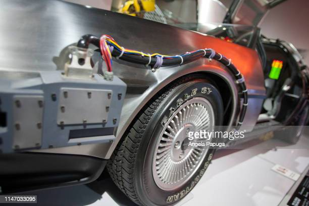 A detail view of the Back to the Future Time Machine during the opening of the new exhibit Hollywood Dream Machines Vehicles Of Science Fiction And...