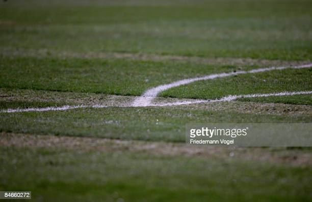 A detail view of the bad grass during the third league match between Fortuna Duesseldorf and Stuttgarter Kickers at the LTU Arena on February 5 2009...