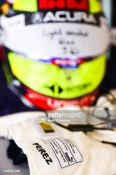 Detail view of the balaclava of Sergio Perez of Mexico and Red Bull Racing in the garage during qualifying ahead of the F1 Grand Prix of USA at...