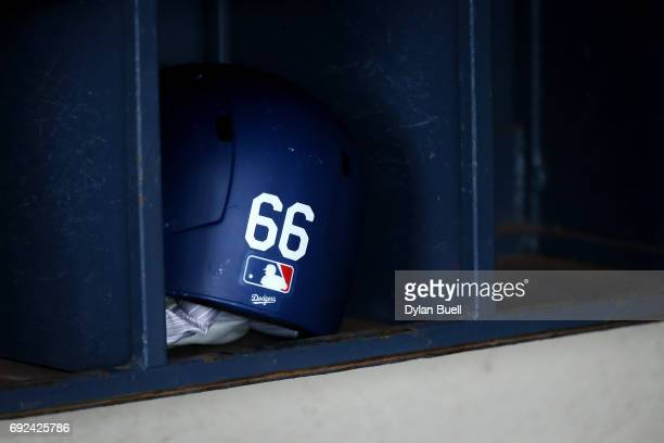 A detail view of the batting helmet of Yasiel Puig of the Los Angeles Dodgers before the game against the Milwaukee Brewers at Miller Park on June 3...