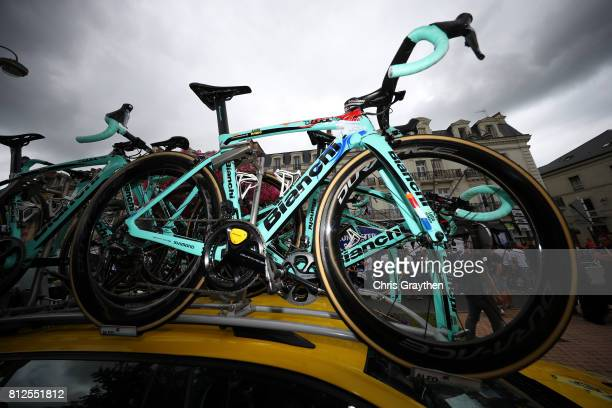 A detail view of the bicycle ridden by Dylan Groenewegen of Netherlands riding for Team Lotto NLJumbo during stage 10 of the 2017 Le Tour de France a...